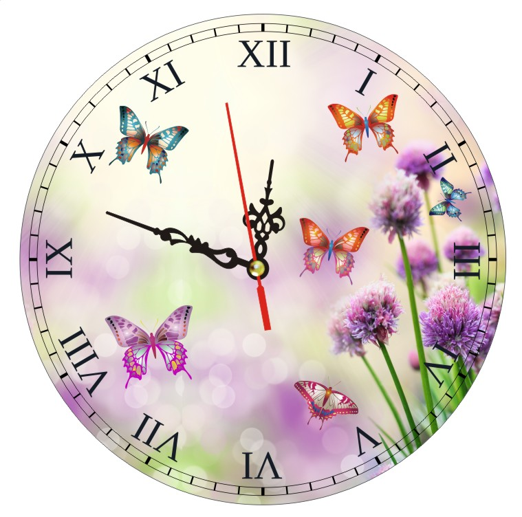 Beautiful Butterfly Flower Wall Clock Designer Clocks